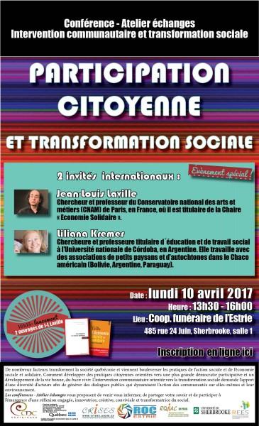 PARTICIPATION CITOYENNE et TRANSFORMATION SOCIALE : conférence-atelier-échange
