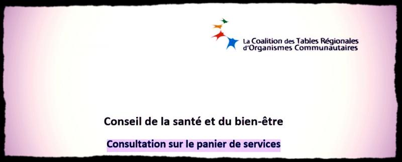Consultation sur le panier de services