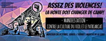 26 octobre:manifestation citoyenne contre la culture du viol et le patriarcat