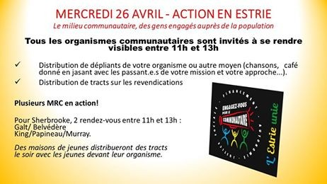 Action Estrie unie le 26 avril