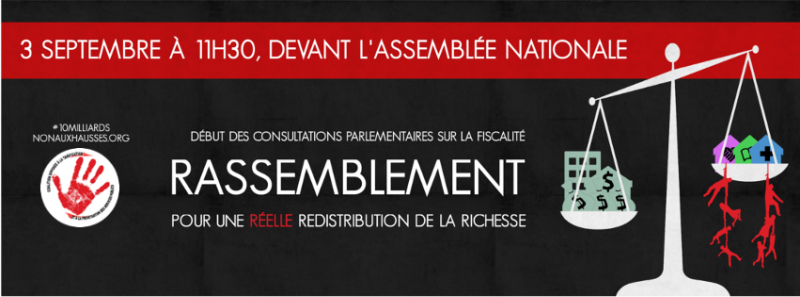 Mobilisation dans le cadre de la commission d'examen sur la fiscalité