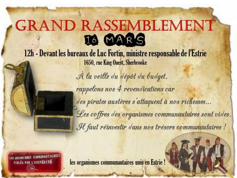 16 mars - GRAND RASSEMBLEMENT UNITAIRE ESTRIEN
