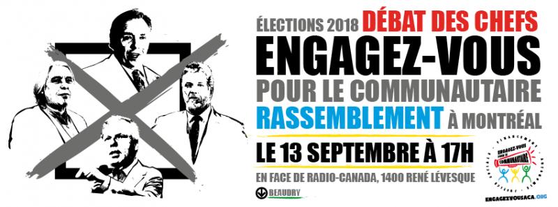 Rassemblement à Montréal pour le débat des chef.fes