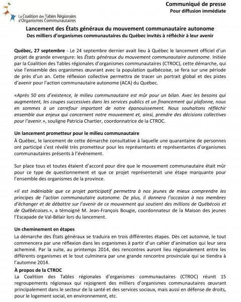Lancement de la démarche États généraux du mouvement communautaire autonome